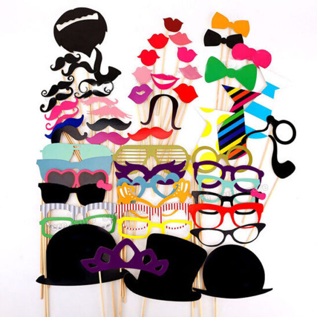 58pcs Photo Booth Props Moustache Hat Glasses Weddings Party 5set/£10 10sets/£17