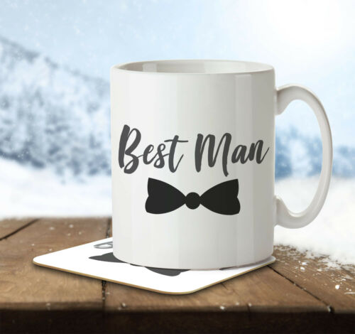 Best Man Mug and Coaster by Inky Penguin Bow Tie