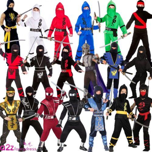 Power Ninja Boys Japanese Samurai Warrior Kids Childs Costume Outfit Fancy Dress