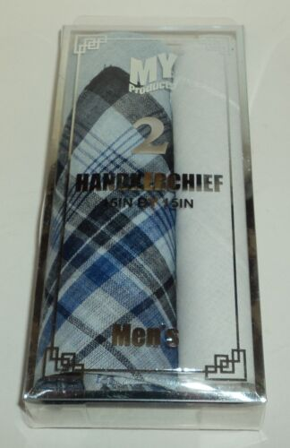 "2 Mens Handkerchiefs 15/"" x 15/"" each BLUE Plaid /& Solid WHITE NIB"