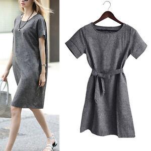 Women-Short-Sleeve-Cotton-Linen-Loose-Mini-Dress-Long-Tops-Blouse-T-Shirt-Dress