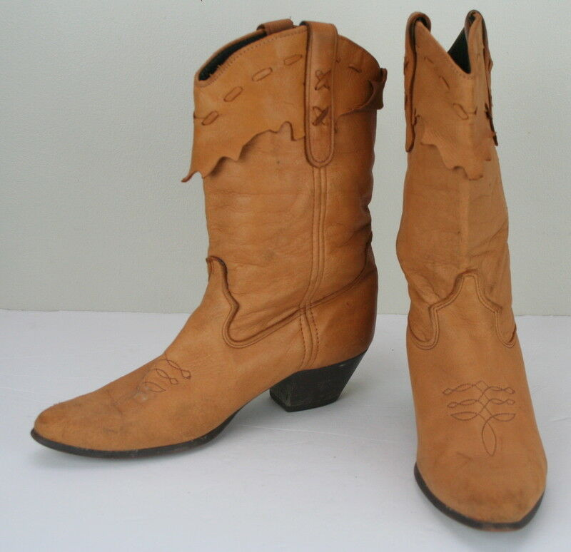 Laredo Camel Brown Leather Cowboy Womens Western Boots 8.5