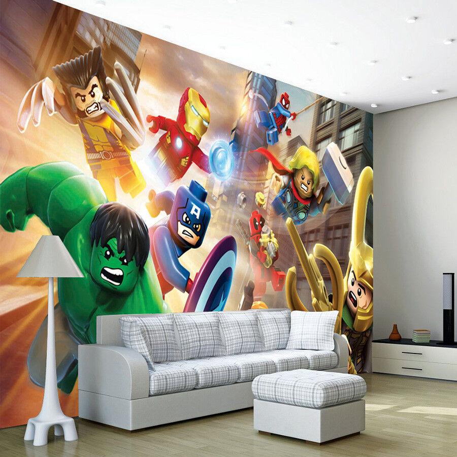 Lego Batman Photo Wallpaper Woven Self-Adhesive Wall Mural Art Kids Room M117