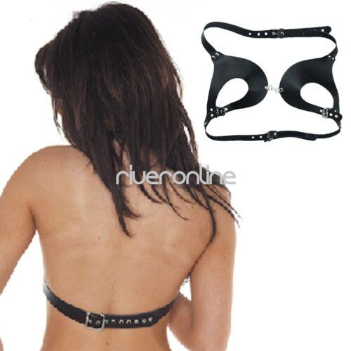 Women Real Leather Cupless Bustier Bra Halter Body Chest Harness Adjustable Belt