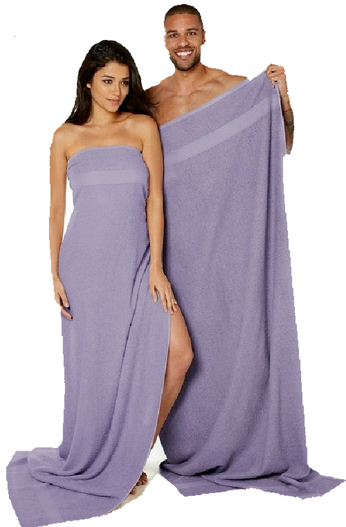 Pair of 100% Cotton Lilac Jumbo Bath Sheets RRP