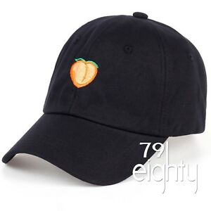 4e8bc3609f8a1 Image is loading NEW-Peach-Emoji-EMBROIDERED-unstructured-Dad-Cap-Hat-