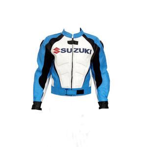 SUZUKI-GSXR-Cavalier-Cuir-Veste-Cuir-Biker-Veste-MOTOGP-Moto-Cuir-Veste-EU-54-58