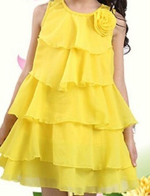 Girls Chiffon Layered Princess Dress Summer Party Casual Pretty Lolita Age Size