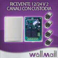 RICEVENTE 2 CANALI CON CUSTODIA + 4 TELECOMANDI 433 MHZ CANCELLI SERRANDE LUCI