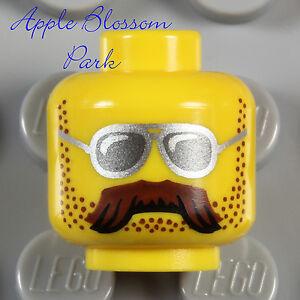 NEW Lego MINIFIG HEAD w/Police Sun Glasses & Harley Biker Brown Moustache Beard
