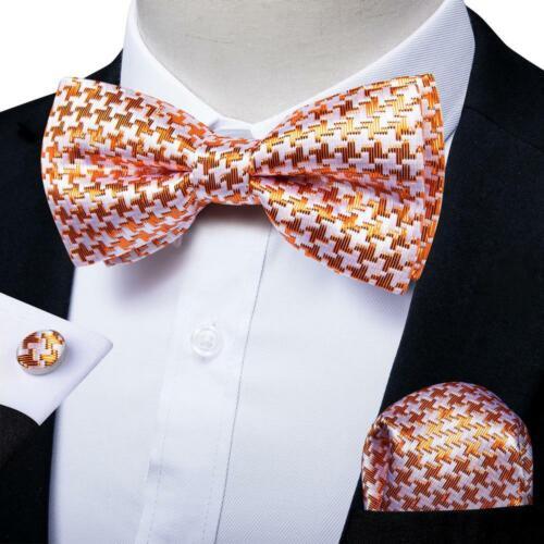 USA Mens Novelty Bow Tie Silk Pre-tied Adjustable Bowtie Pocket Square Set
