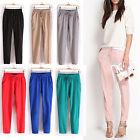 Women Solid Casual Drawstring Elastic Waist Chiffon Harem Pants Trousers S-XL