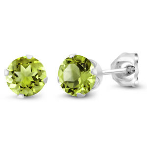 1-00-Ct-Round-Green-Peridot-925-Sterling-Silver-5-00mm-Stud-Earrings