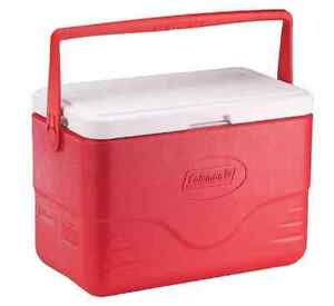 28 Qt Red Cooler Ice Chest Box Camping Small Portable Handle Picnic Drink Food