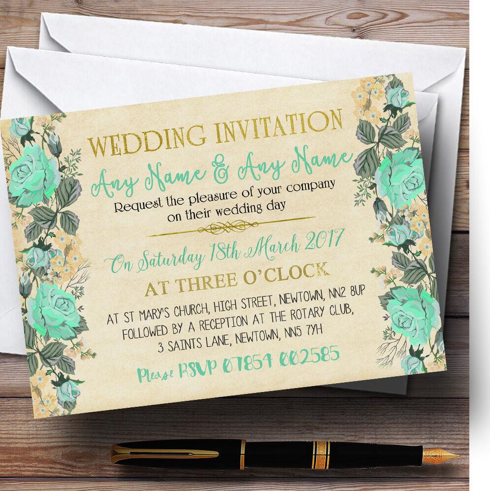 Vintage mint Vert Or  & Or Vert  aquarelle personnalisé mariage invitations 6ae269