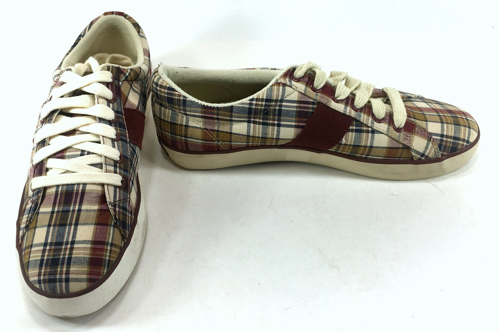 Polo Ralph Lauren Shoes Harold Madras Plaid Multi-Colored Red  Size 8.5
