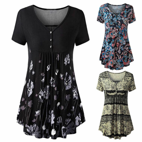 Women/'s V-Neck Button Front Pleated Short Sleeve Loose Tunic Tops Shirt Blouse