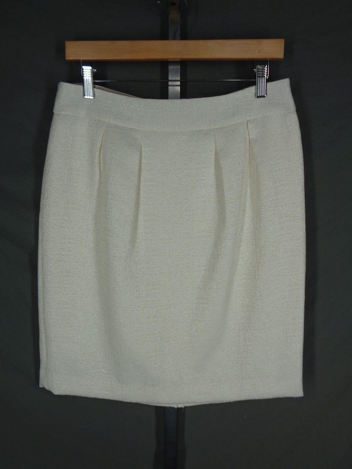 Banana Republic Skirt Size 10 Ivory Cream Jacquard Pleated Straight Pencil New