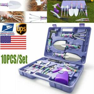 10pcs Garden Tools Set Gardening Kit Weeder Rake Shovel Trowel Sprayer w/ Case