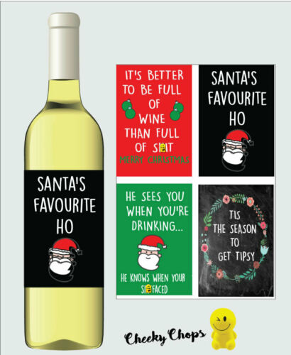 CHEEKY 4 X Funny Christmas Wine Labels Mum Dad Brother Sister Best Friend Work