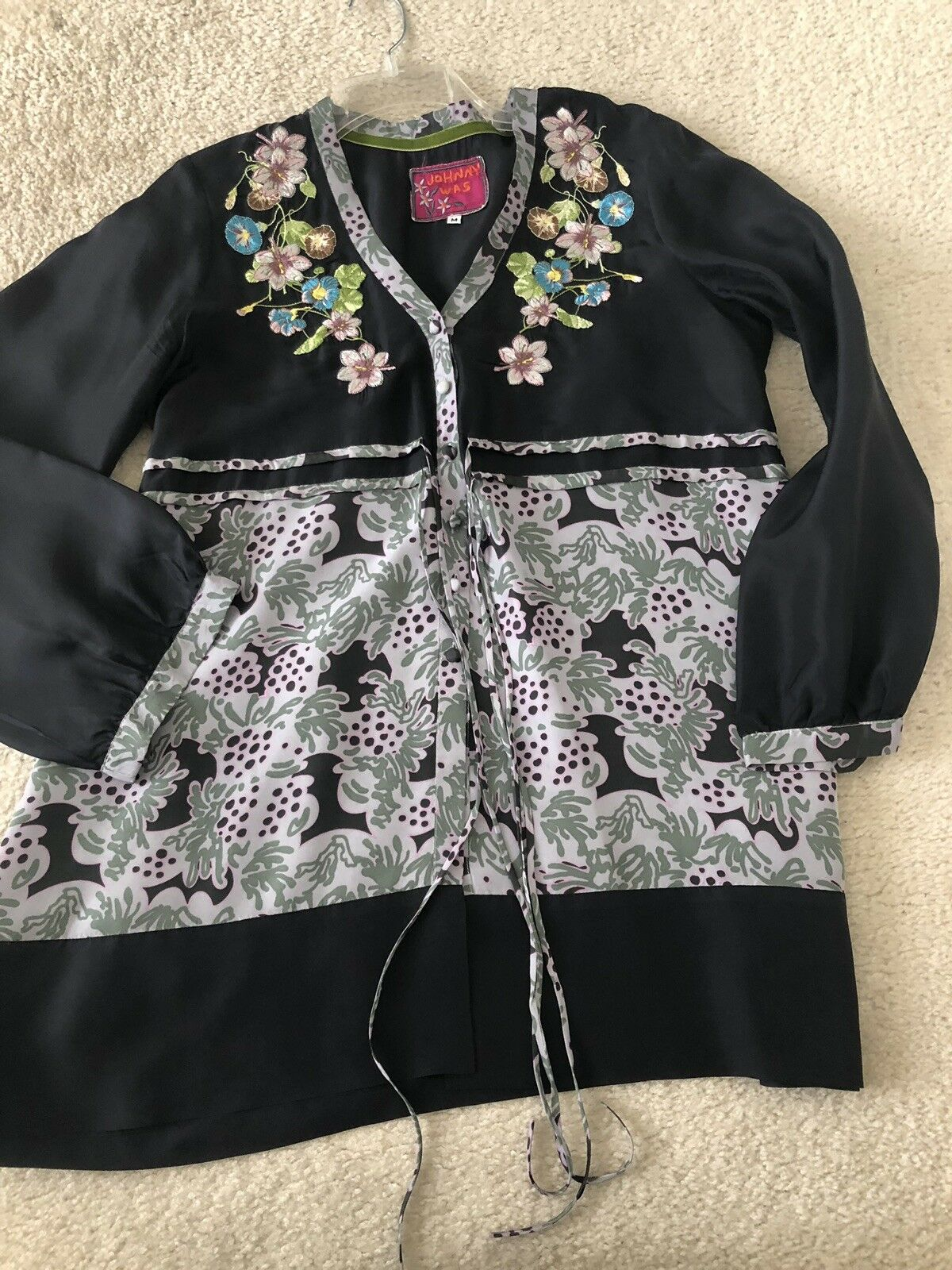 Johnny Was Mixed Print Embroiderot Tunic Top Medium Embroiderot Biya Jwla Silk