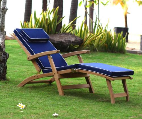2 X LUXURY STEAMER//SUN LOUNGER GARDEN CUSHIONS NAVY BLUE NEW