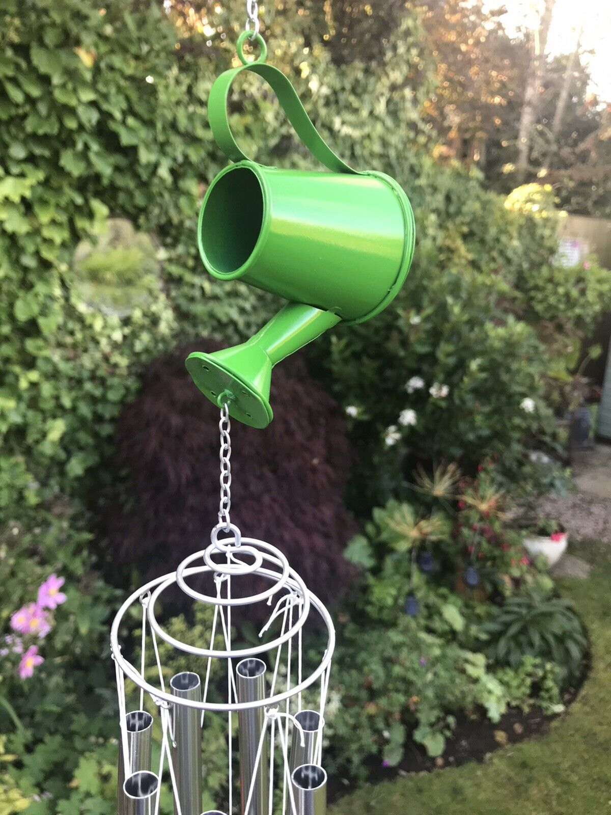 Personalised Watering Can Wind Chime, Fathers Day Garden Gift, Dad Unique Gift
