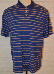 84adf6ac323 Men s Saddlebred Navy Blue Pink Stripe Short Sleeve Polo Shirt Top ...