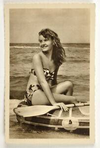 Vintage card girl in a swimsuit pin-up Germany 1958
