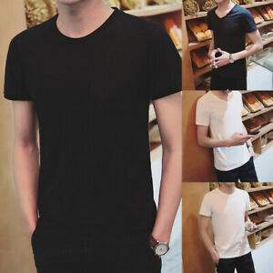 Wholesale-Men-Solid-Casual-Slim-Fit-Black-White-T-shirt-Basic-Tee-Blouse-Top