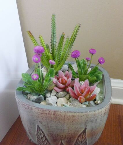 Artificial Mini Purple Flower With Red Finger Plants  Succulents Grass