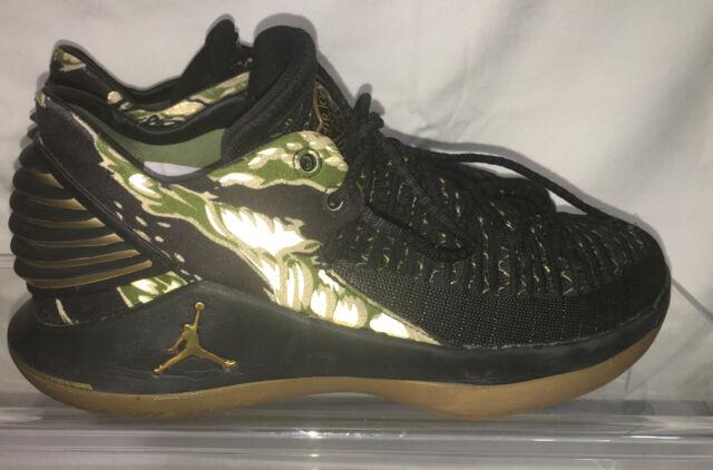 Nike Air Jordan XXXII 32 Low Black Gold Gum Tiger Camo Aa1256 021 Size 7 Youth