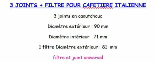 3 JOINTS FILTRE CAFETIERE ITALIENNE UNIVERSEL12 TASSES TAILLE VOIR PHOTO