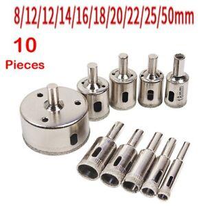 10 PCS 3-50mm Diamond Tool Drill Bit Kit Hole Saw Cutter For Tile Glass Glas
