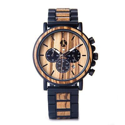 Nett Kim Johanson Holz Armbanduhr *military* Aus Ebenholz Gliederarmband Quarz Uhr