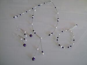 75e8c475b Détails sur Parure Blanc/Ivoire/Violet Collier Bracelet bijou dos  Mariage/Mariée pas cher