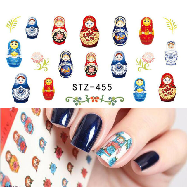 Nail Art Water Decals Stickers Transfers Decoration Russian Dolls ...
