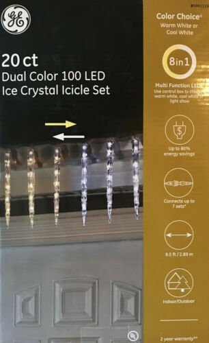Cool White Ice Crystal Icicle Lights 20 GE Color Choice LED Dual-Color Warm