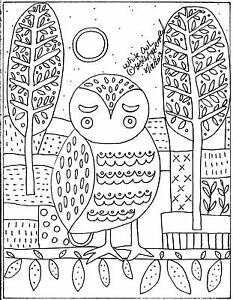 Rug-Hook-Crafts-Paper-Pattern-White-Owl-FOLK-ART-ABSTRACT-Primitive-Karla-Gerard