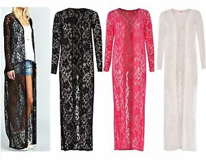 Long Lace Maxi Cardigan Celeb Essex Towie style Crochet Kimono ...