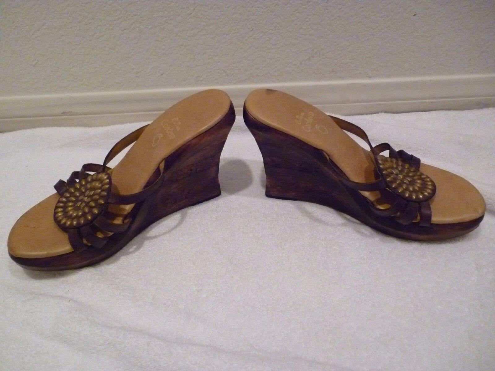 Calleen Cordero Handmade Distressed Metallic Leather chaussures chaussures chaussures wedges stud SZ 40 10 5ff432