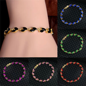 Women-Gold-Leaf-Crystal-Bangle-Wristband-Chain-Bracelet-Wedding-Party-Jewelry
