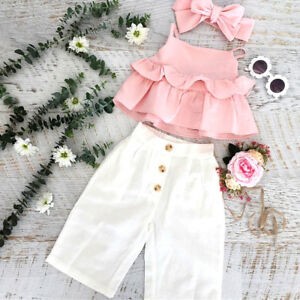 413dce33c4220 UK Toddler Kid Baby Girl Ruffle Sling Tops Long Pants 3PCS Outfit ...