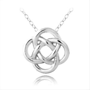 925-Sterling-Silver-Love-Knot-Flower-Necklace