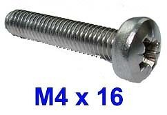 M4 x 16 Stainless Pozi Pan Head Machine Screws 4mm x 16mm Machine Screws x20