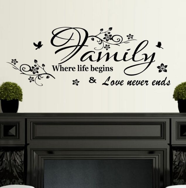 Wall Art Quote Sticker Family where life begins Home Decor SVIL11
