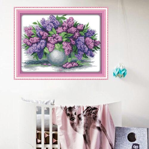 Lavendel Vase Stickpackung Kreuzstich mit Bamwolle Garn und Anleitung,