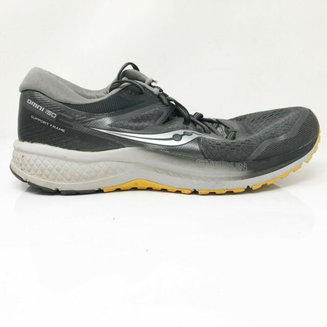 Saucony Mens Omni ISO 2 S20511-45 Black Gray Running Shoes Lace Up Size 11