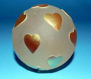BEAUTIFUL Signed STUDIO CORREIA CAMEO Art Glass GOLD HEART FROSTED paperweight