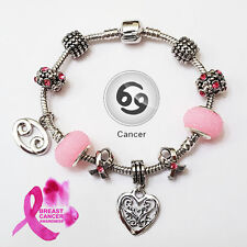 Stylish CANCER Zodiac Purple Black Pink Murano Breast Cancer Charm Bracelet